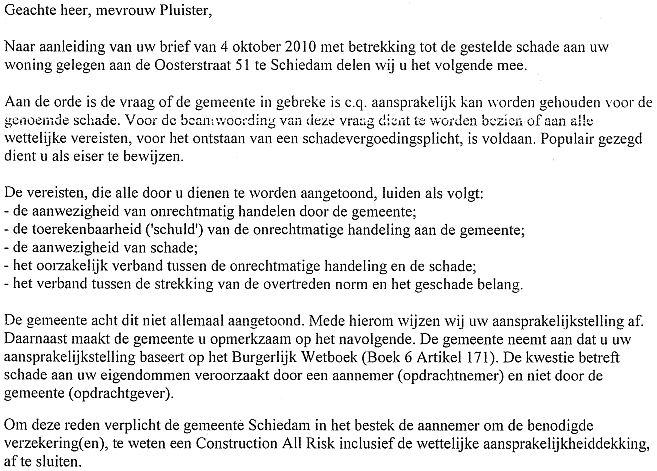gemeente aansprakelijk stellen voor schade voorbeeldbrief Oosterstraat versus Kraaijeveld en gemeente gemeente aansprakelijk stellen voor schade voorbeeldbrief