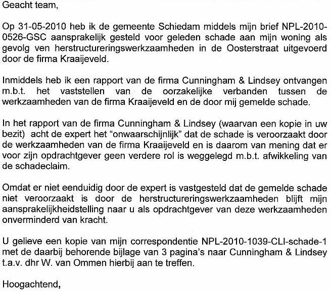 gemeente aansprakelijk stellen voorbeeldbrief Oosterstraat versus Kraaijeveld en gemeente gemeente aansprakelijk stellen voorbeeldbrief