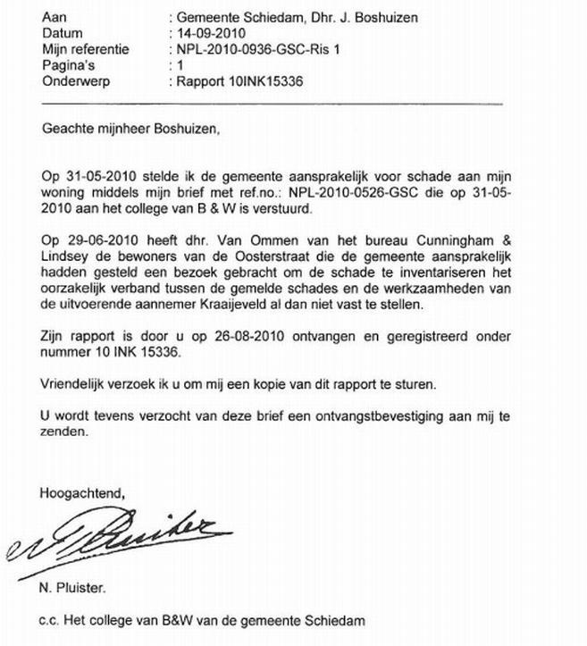 voorbeeldbrief schademelding Oosterstraat versus Kraaijeveld en gemeente voorbeeldbrief schademelding